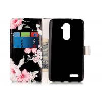 China Scratch Resistance Pu Leather TPU Phone Case Black Color With Flower Printing For Iphone wholesale