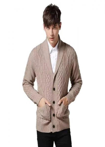Quality M - XXL Size Mens Chunky Knit Sweater , Mens Cardigan Sweaters 0.3KG Weight for sale