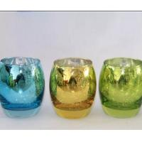 Egg Shape Glass Candle Cups Colored Blue Machine Pressed Custom Size For Wine