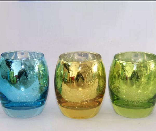 Quality Egg Shape Glass Candle Cups Colored Blue Machine Pressed Custom Size For Wine for sale