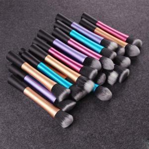 China 5 PCS Cosmetic Brush Set Blue Long Aluminum Tube Aluminum Ferrule Material wholesale