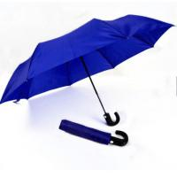 China Mens Compact Umbrella Push Button Open CloseRoyal Blue 21 Inches Plastic Tips wholesale