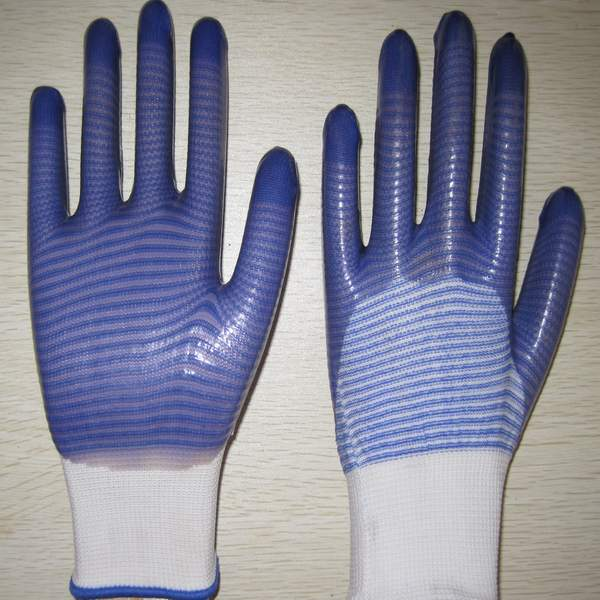 Quality blue PVC coated working gloves PG1511-12 for sale