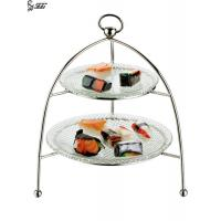 China Metal Pastry Stand With Glass Plates , Two Tiered Cake Stand With Handle on sale