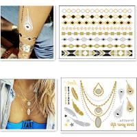 Eco-Friendly Silver Gold Foil Temporary Tattoos Metallic Necklace Tattoo
