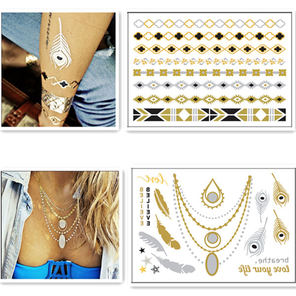 Quality Eco-Friendly Silver Gold Foil Temporary Tattoos Metallic Necklace Tattoo for sale