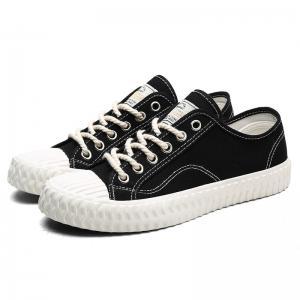 China Non Slip Black Canvas Lace Up Shoes Shock Absorption Wear Resistant wholesale