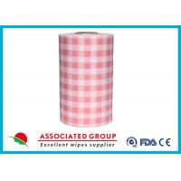 China Plaid Pattern Spunlace Nonwoven Wipe Rolls In different Color , Breakpoint Available wholesale