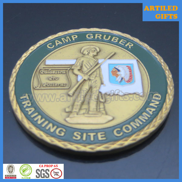 Quality Diamond cut Camp Gruber Training Site Command Great Seal of The State of Oklahoma coin for sale