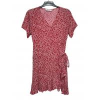 China Fashion Style flower printed Ladies Plus Size Comfortable Short Sleeve Red color Dresses on sale