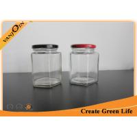China Small 400ml Hexagon Glass Food Storage Containers with Lids , Glass Canning Jars wholesale