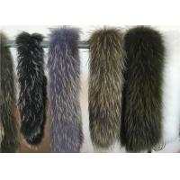 China Fluffy Authentic Raccoon Fur Collar , Natural Color Raccoon Fur Hood Trim For Women on sale