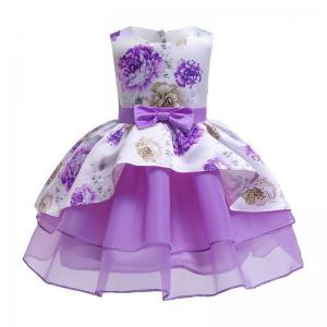 China Hot Sale Toon Purple Girl Dress Bow Belt Printed Mesh Gown Princess Dress Tutu Dresses Invisible Zipper Disfraces Vestid wholesale