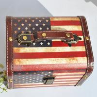 China USA Flag Square Wooden Storage Box Home Furnishing Natural Wooden Packing box Craft Jewelry box Case wholesale