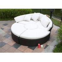 Black Rattan Sunbed Transformed Into Sofa Tea Table and Foot Pedal