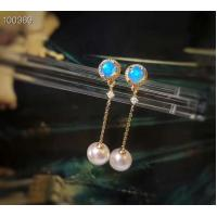 China Women Real Gold Earrings With White Seawater Pearls , Yellow Gold Jewelry wholesale