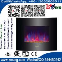 China Wall Mount Electric Fireplace Heater Curved front pebbles flame EF453S/EF453SL/EF453SLB stone base stand room heater wholesale