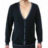 China Mens' Cardigan/Sweater, Made of 78% Acrylic and 22% Polyamide on sale