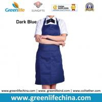 China Fashion popular advertising good polyester bib apron with dark blue color against dirty wholesale