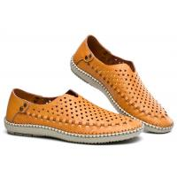 China Breathable Punched Holes Mens Casual Summer Shoes , Khaki Leather Business Shoes wholesale