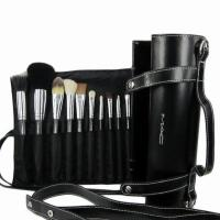 China newly hot sale 16pcs make up brush cosmetics make up brush black color with a role case wholesale