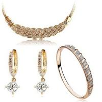 High-Grade Jewelry Accessories Set Necklace Bracelet Zircon Earring