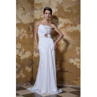 China Beauty White Strapless Mermaid Chiffon Summer Party Dresses Evening Gown With Beads wholesale
