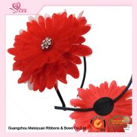 China 10cm Large Red Sun Flower Girl Headband For Birthday Present / Holiday / Party Celebration wholesale