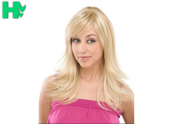 Quality Stylish Long Wig Blonde Synthetic Hair Wigs , Costume Wig For Women for sale