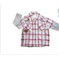 China ODM Red, Blue Cotton Short Sleeve Summer Kids Plaid Shirts,Baby Sets Boys Lapel Blouse on sale