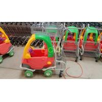 China Grocery Plastic Shopping Trolley , Steel Wire Kiddie Trolley Cart With 4 Elevator Wheels wholesale