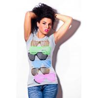 China Womens short sleeves tshirt round neck glasses printing front wholesale
