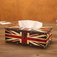 China Vintage Chic Shabby Wooden Tissue Box Holder Rectangle Handcraft Cover Napkin Organizer Holder with Metal Lock wholesale