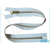 China Long Metal 8# Golden Big Teeth Zipper Close End White Tape For Garment / Textile wholesale