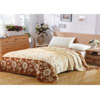Floral Pattern Flannel Fleece Blanket Single Layer With Machine Made Fold Border 1cm Technics