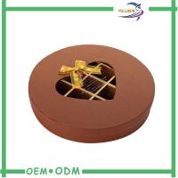 China Decorative Brown Round Chocolate Boxes Packaging With Transparent Window wholesale