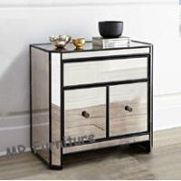 China Black Trimming Mirror Furniture Set 2 Doors Mirrored Living Room Side Table wholesale