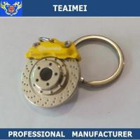 Quality Metal Custom Yellow Brake Disc Logo Car Keychains With Chrome Plated Finish for sale