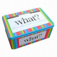 China Tin Box for Gift, Used to Pack Toys and Game Cards, Comes in Various Colors wholesale