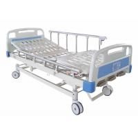 China Folding Metal Hospital Manual Bed Three Cranks Customizable Size With Central Brake wholesale