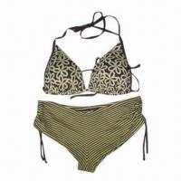 China Women's Plus Size Swimwear with Flower Triangle Cup and Stripe Print Trunk on sale