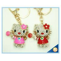 China New Animal Metal Bag Ornament Cute Crystal Flower Cat With Candy Key chains Charm Pendant wholesale