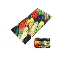 China Polyester Soft Fadeless UV Buff Headwear Seamless Breathable With Feather Logo wholesale