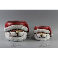 Table Top Ceramic Christmas Gift , Ceramic Christmas Candle Holders With Santa Claus In Hat