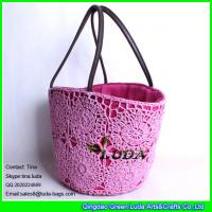 China LUDA crochet flower beach basket bag wheat straw summer shopping bag handbag wholesale
