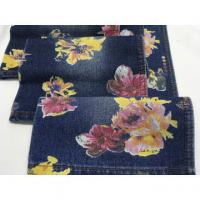 "China High quality wholesale 62/63"" flowers printed cotton polyester denim fabric wholesale"