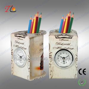China fashionable custom desktop pen holder and alarm clock china factory direct wholesale