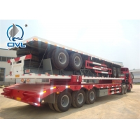 China Q345 Material Flat Bed Semi Trailer Truck For 20 Or 40 Feet Container Carrying wholesale
