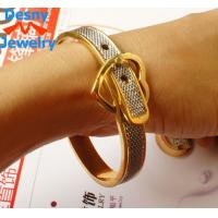 China 2 tone Belt Buckle Handcuff Womens Bangle Bracelet metal casting jewelry wholesale