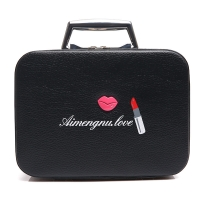 China Lightweight L25*D11.5*H18.5CM PU Cosmetic Case With Metal handle wholesale